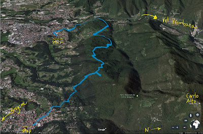 Route from Villa D'Almé/Bruntino to Sorisole through the Parco dei Colli di Bergamo.