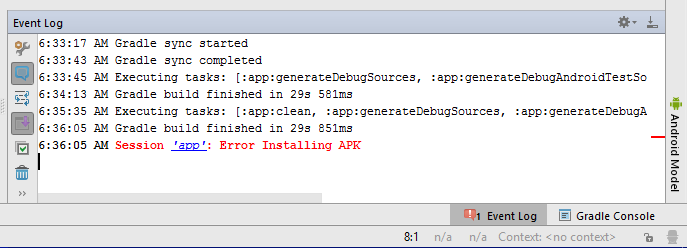 Session 'app': Error Installing APK