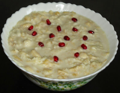 garnished with pomegranate seeds