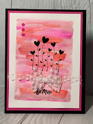 Valentine card with a watercolor wash background