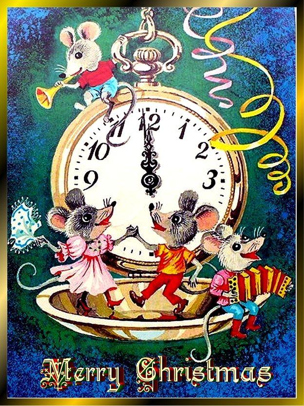 Открытка новый год ссср мышь