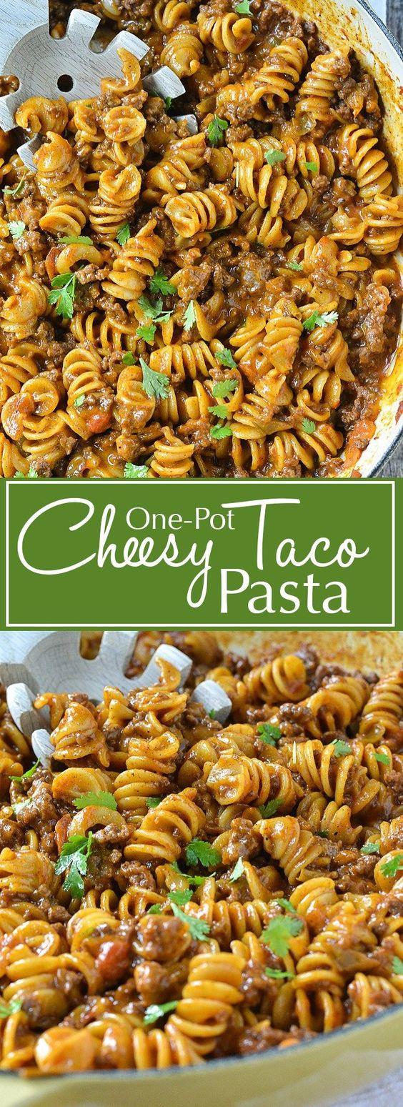 One-Pot Cheesy Taco Pasta #taco #pasta #cheesytaco #lunchideas #easyrecipes #dinnerideas