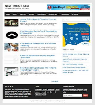 NTS Template Blog Simple Ringan Terbaru