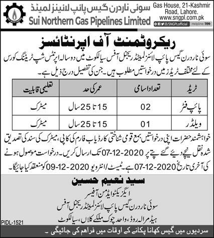 Sui Northern Gas Pipe Line Limited Sialkot SNGPL Jobs 2020
