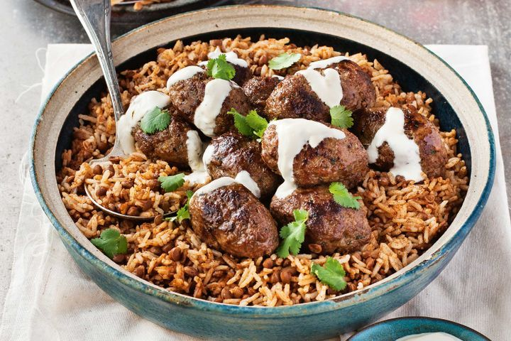 Middle Eastern lamb koftas with aromatic lentil rice