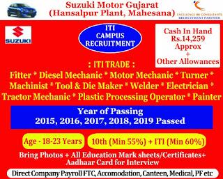 ITI Job Campus  For Suzuki Motor Gujarat at Govt. ITI Balsinor , Dist - Mahisagar- 01.02.2021(Monday)