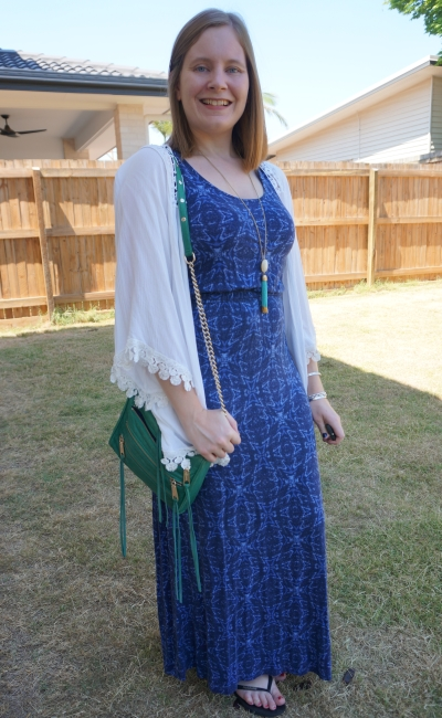 white crochet kimono with blue printed maxi dress green rebecca minkoff mini 5 zip bag | away from blue