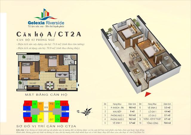 Thiết kế căn hộ A, dt 70m, 2 ngủ, tòa CT2A Gelexia Riverside