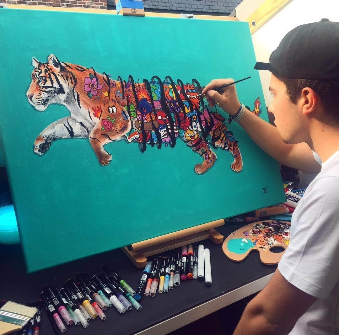 12-Tiger-Painting-Vince-Okerman-aka-Vexx-11-Doodle-Drawings-and-1-Painting-www-designstack-co