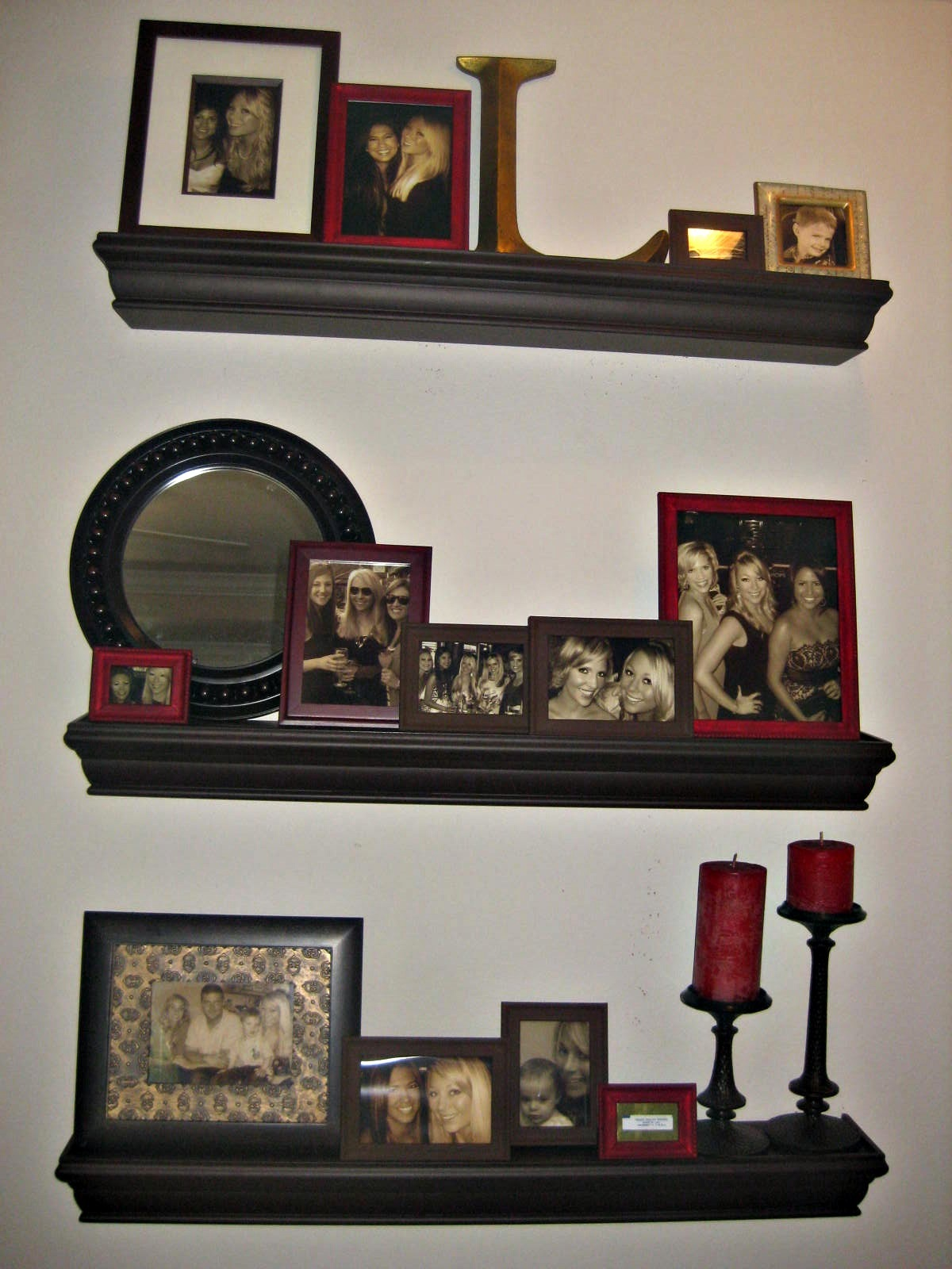 Decorating With Wall Shelves The Bargain Blonde How I Did My Quotfloating Shelves Photo Wall Quot