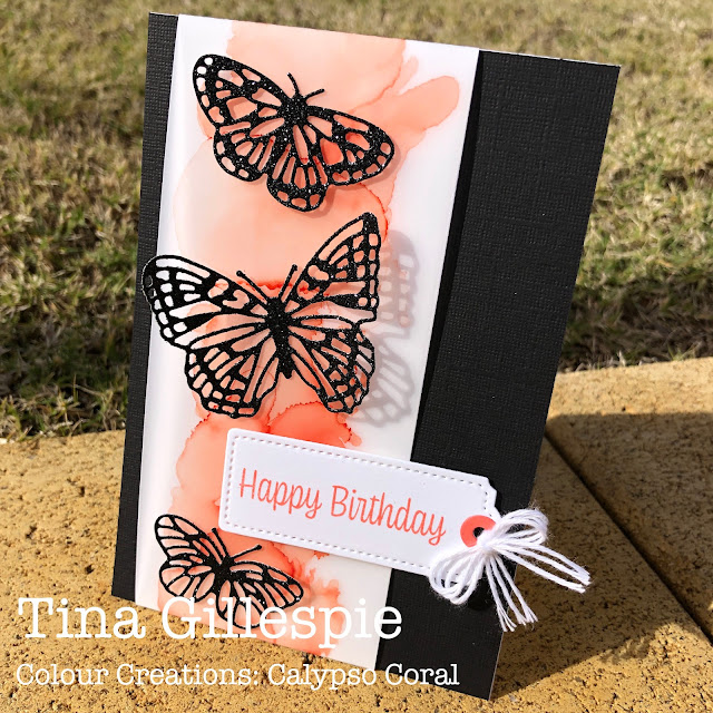 scissorspapercard, Stampin' Up!, Colour Creations, Brilliant Wings Dies, Sweet As A Peach, Tailor Made Tags Dies, Alcohol Ink Technique, Stampin' Blends