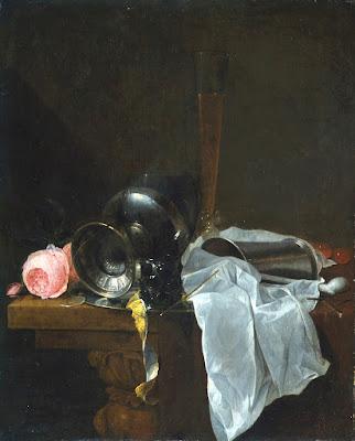 Jan Davidszoon de Heem - Roses,coupes et timbales avec deux veres sur une table.