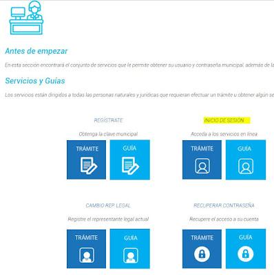 Ubica la opción Inicio de Sesión, y da clic en Trámite. En la que deberás logearte con tu cédula que es el usuario del Municipio de Guayaquil, y la contraseña que tienes registrada en el sistema.