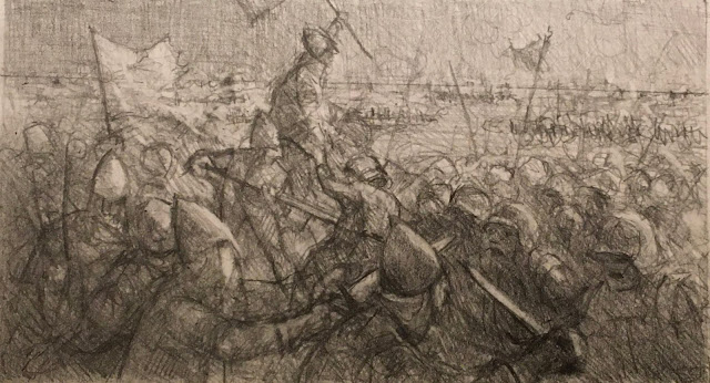Pencil drawing of battle scene with medieval-looking warriors fighting   with swords and spears.