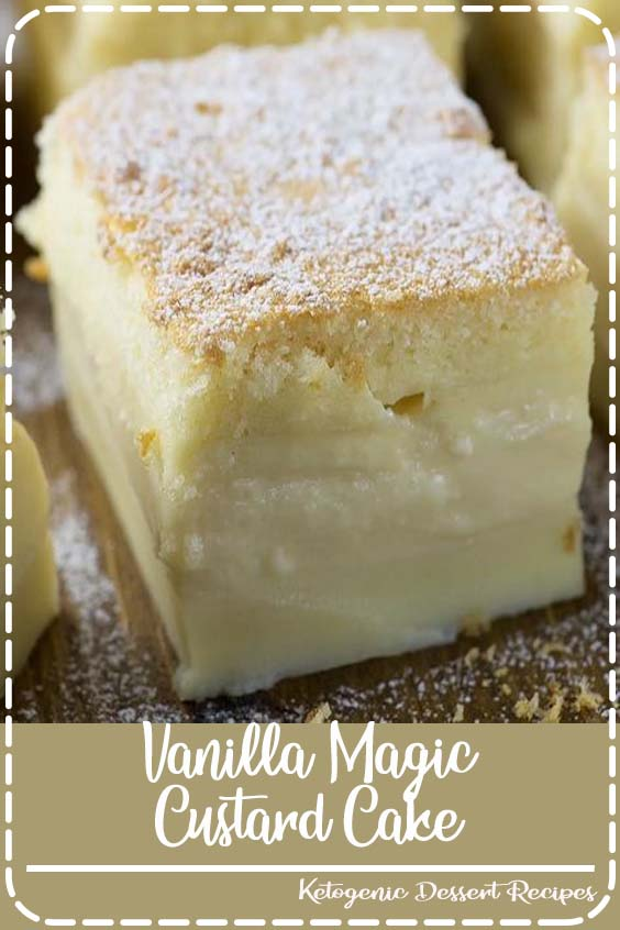 This recipe truly is magic - during baking a simple Vanilla custard transforms into a triple layer custard cake, just like magic. #magiccake #custardcake #vanillacake #custard #cakerecipe