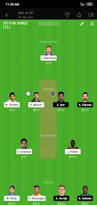 DC VS SRH Dream 11 Match 47 27 Oct 100% The Dream Team Winning IPL 2020