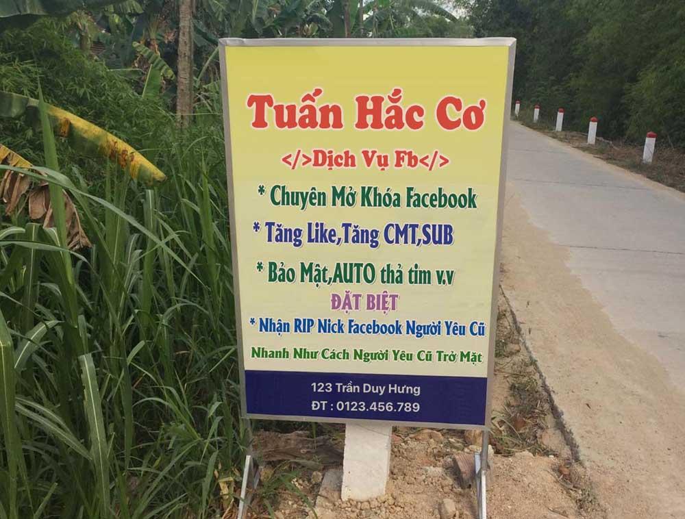 Chế ảnh biển quảng cáo dịch vụ facebook