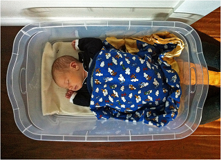 Image: Baby sleeping in a Rubbermaid bin, by Jeff_Werner, on Flickr
