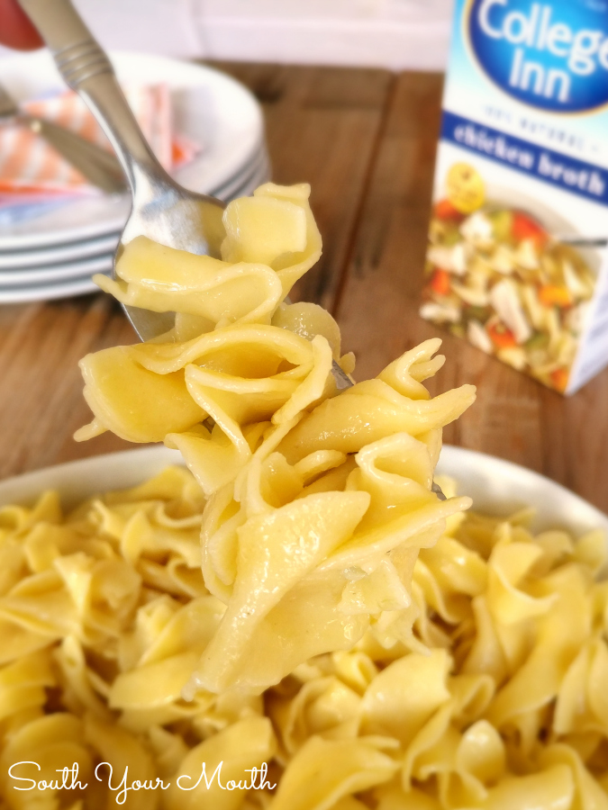 Walk-Away Noodles! Throw everything in the pot and walk away with this recipe for perfectly cooked, hot buttered noodles that are the perfect side dish for any meal!