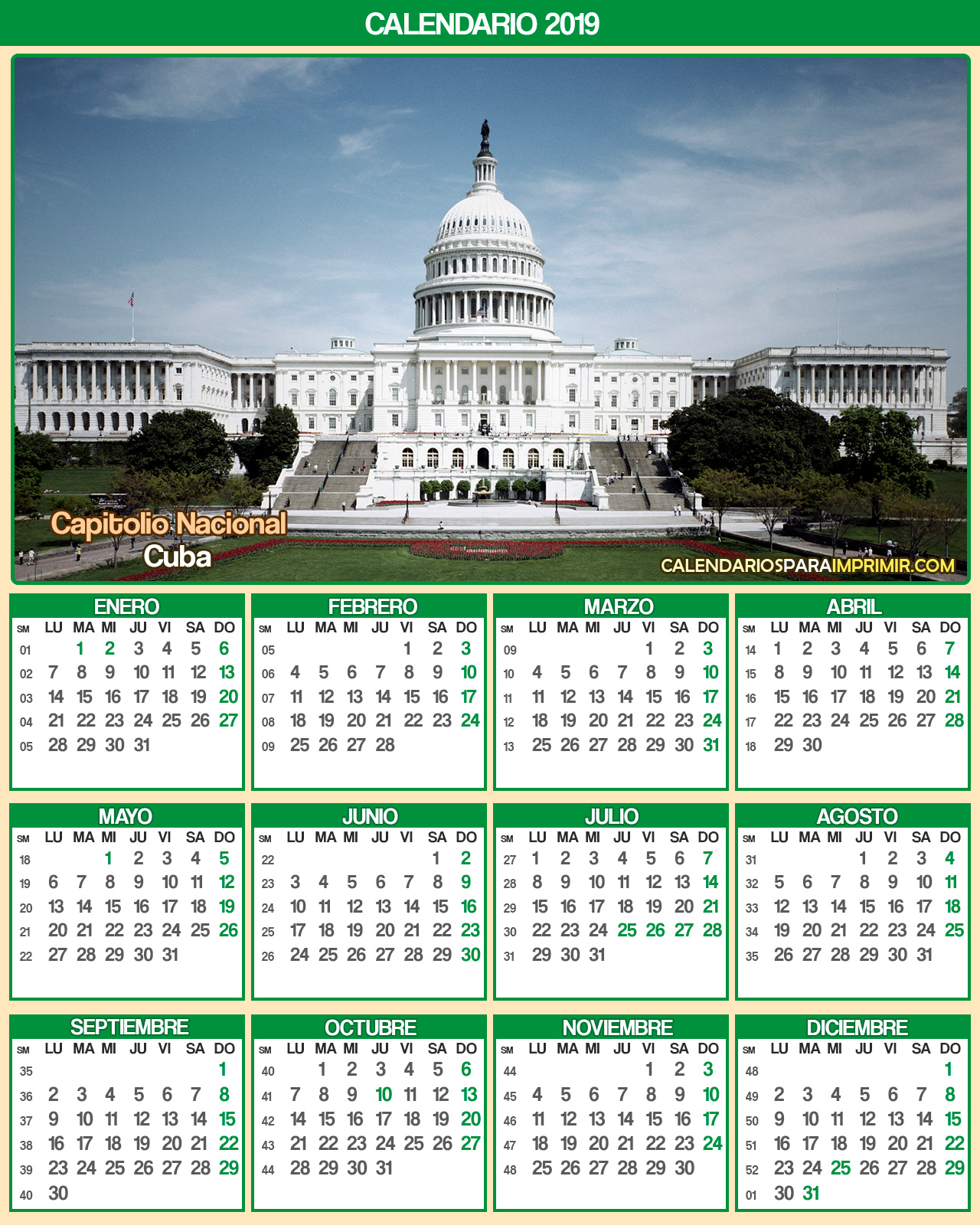 calendario cuba 2019