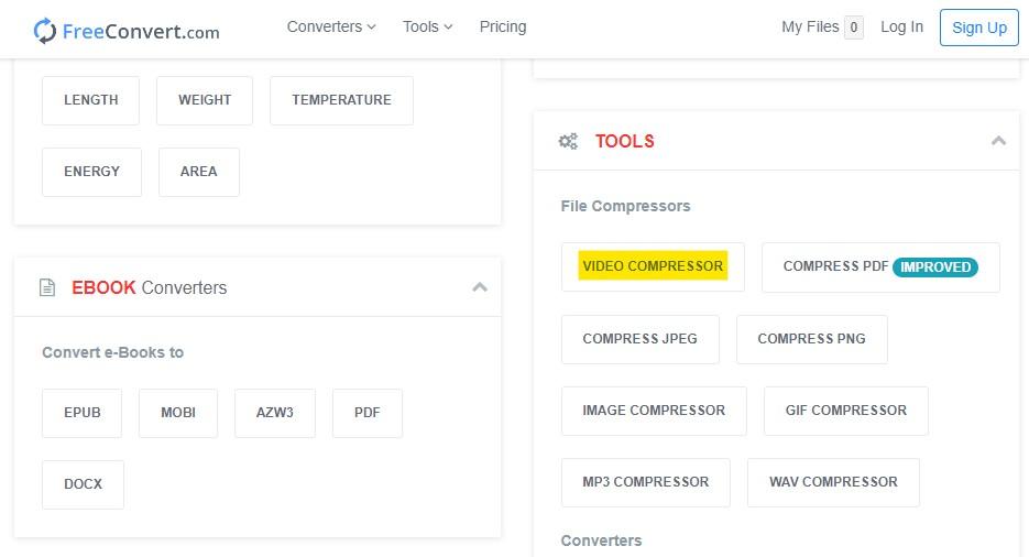 Tool Video Compressor pada FreeConvert