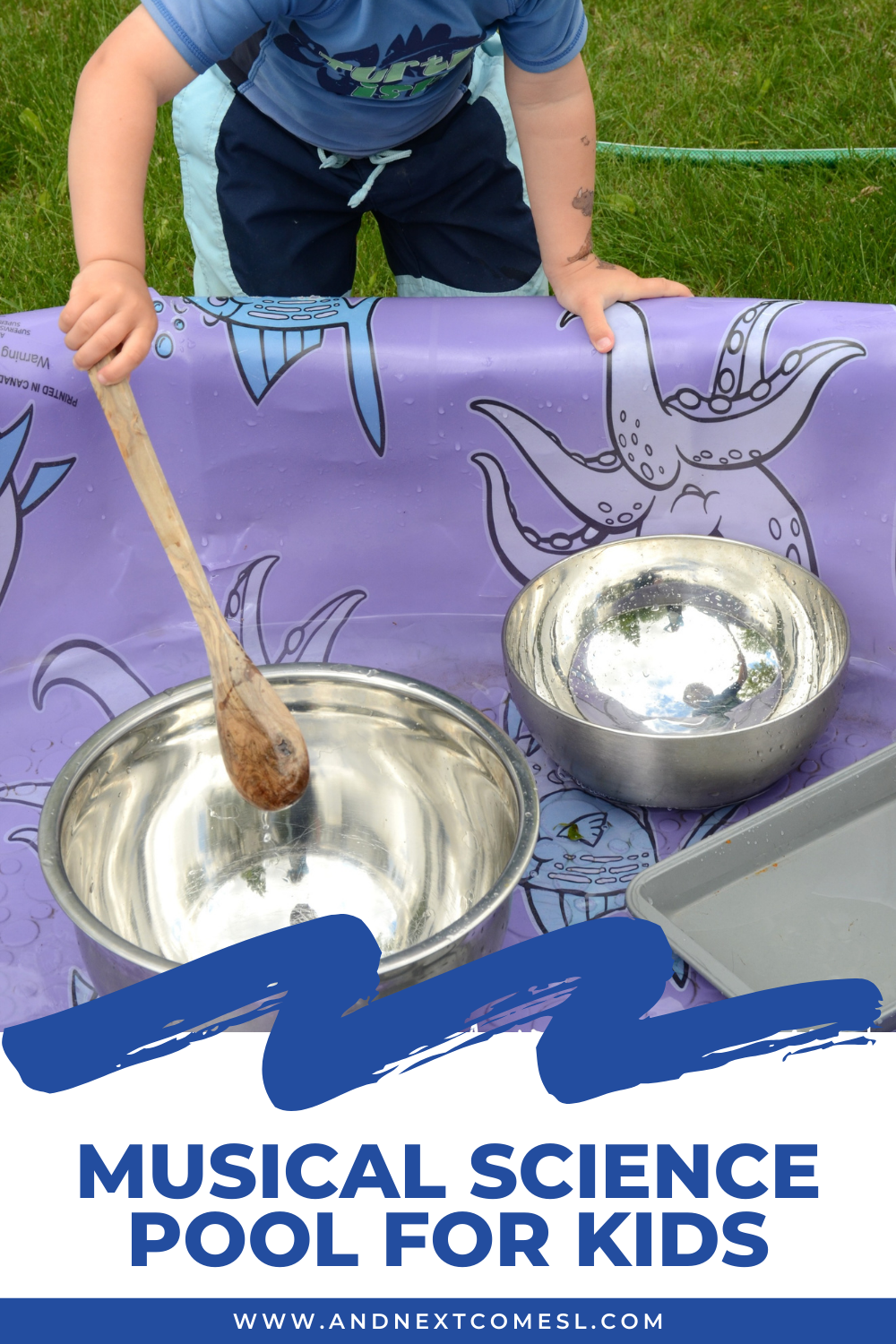Your kids will love this musical science pool activity - it's such a fun outdoor music science experiment for toddlers and preschoolers!