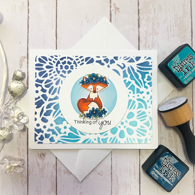 Thinking of You Card by February Guest Designer Caitlin Anthony | Woodland Spring Stamp Set and Floral Lace Stencil by Newton's Nook Designs