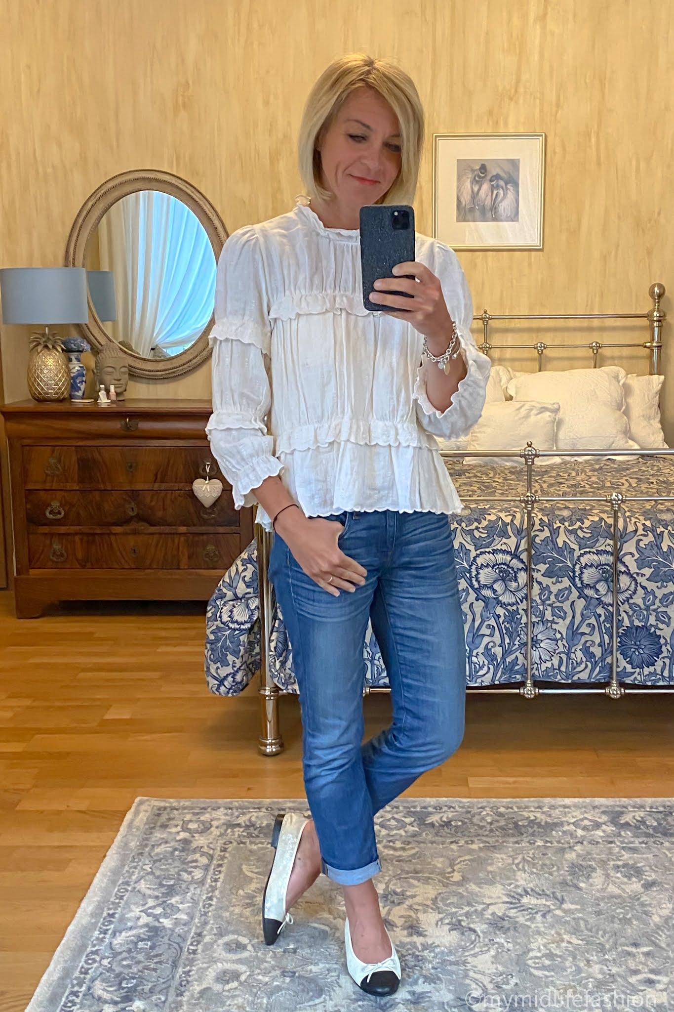 my midlife fashion, Isabel Marant Etoile blouse, j crew straight legged boyfriend jeans, channel two tone ballet pumps