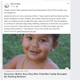 Facebook post announcing lawsuit over Amber teething jewelry.