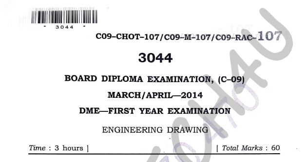 107-engineering drawing c-09 question papers