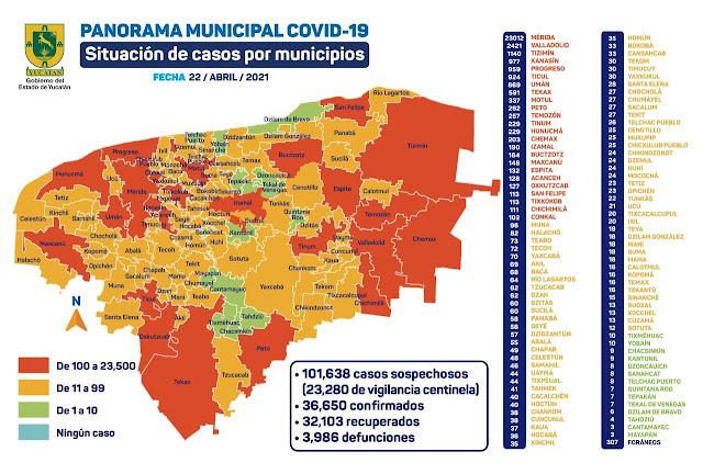 Así está el mapa del #COVID19 en Yucatán. Gráfica de la SSY
