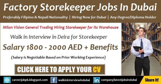 Store Keeper Jobs in Dubai Factory Walk in Interview Latest Vacancies
