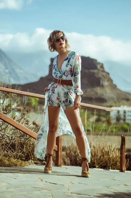 Plunging-Neck-Overlay-Leaf-Print-High-Slit-Romper-Rosegal