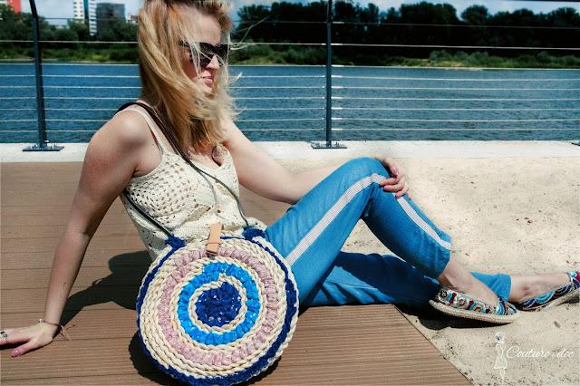szydełkowy top, circle basket bag, torba koszyk, maroko