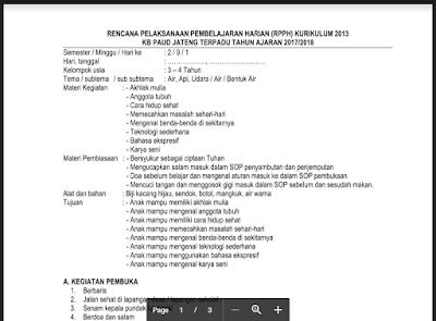 RPPH KB B Tahun Semester 2 Tema Air Kurikulum 2013