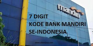 7 DIGIT Kode Cabang Bank Mandiri se-Indonesia Info Terbaru dan Terlengkap