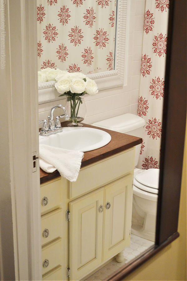 Farmhouse Red and White Accented Bathroom Mirror View