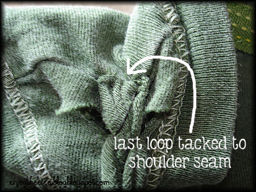 sewing the last loop on a braided neckline