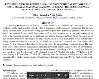 Jurnal Pendidikan Matematik – Kesan Pembelajaran Koperatif Terhadap Sikap dan Pencapaian  Matematik bagi Murid-Murid Sekolah Rendah