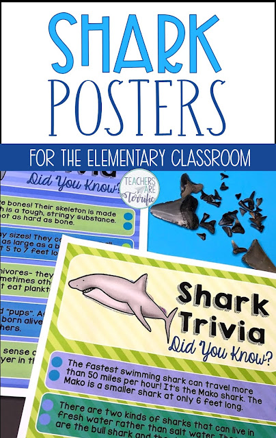 Is it Shark Week in your classroom? This set is perfect for some extra reading, task card games, and practicing use of nonfiction text features! This package contains four pages of nonfiction reading selections designed to resemble magazine or newspaper pages. It includes shark attacks, sizes of sharks, kinds of sharks and basic facts, information about shark fins, a diagram of body parts, an article about shark teeth, and an article about whale sharks. #sharks #elementary #taskcards