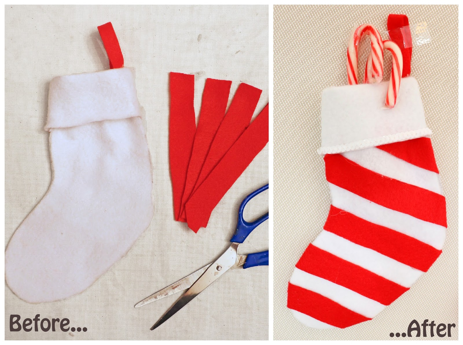 Loving this red and white striped stocking for Christmas! Click through for full tutorial