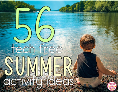 cover image of boy at lake, 56 tech free summer activities
