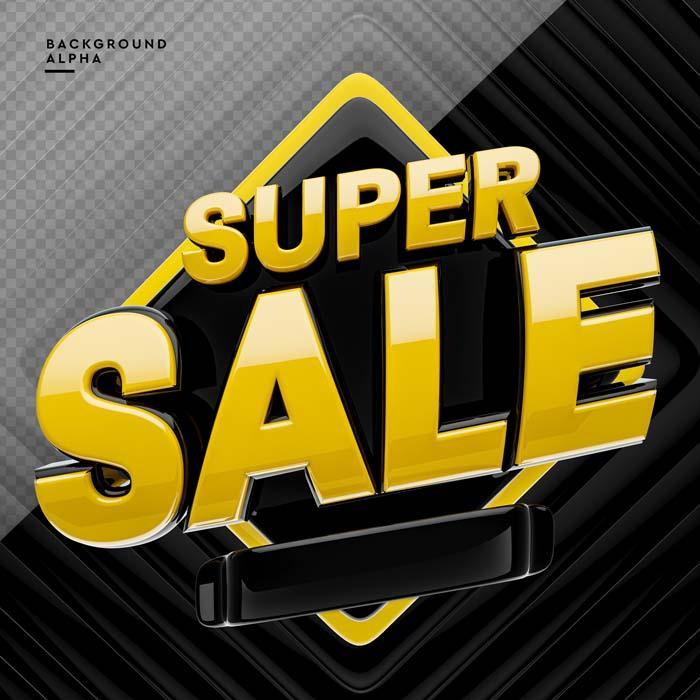 3D Super Sale Logo 3d Rendering
