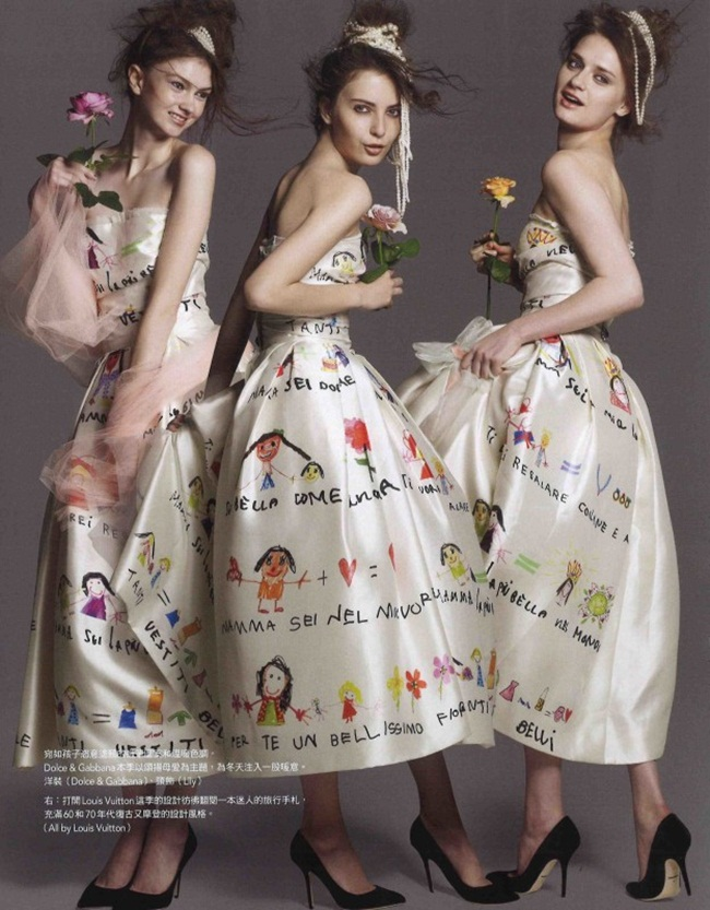 Dolce & Gabbana 2015 AW Children's Painting in White Gown Editorials