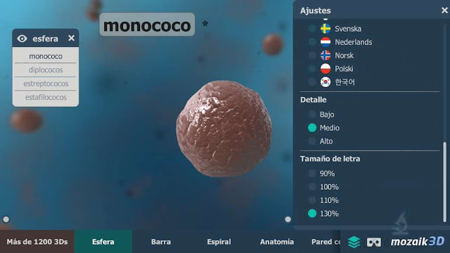 monococ en 3d, ajustes de la app