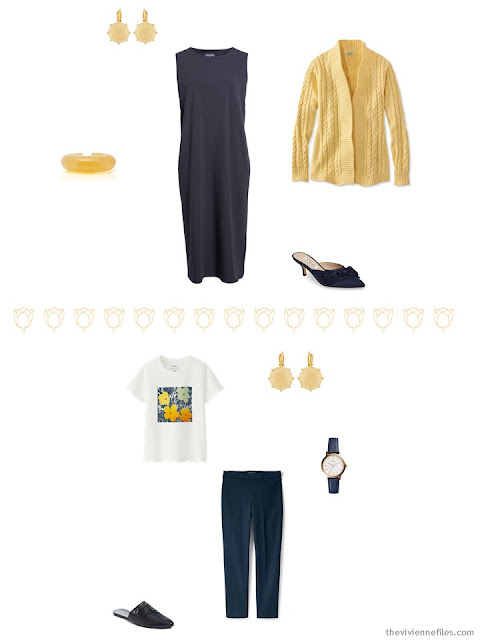 2 outfits from a Tote Bag Travel Capsule wardrobe in navy with red, orange and yellow accents