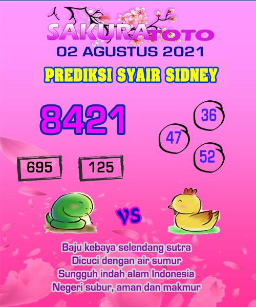 Prediksi Sakura Toto Sidney Senin 02 Agustus 2021