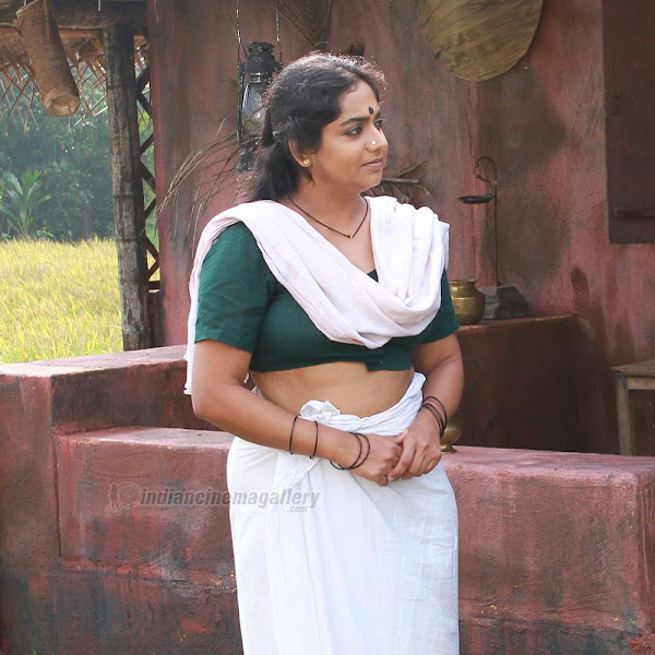 Mallu aunty actress Lakshmi Sharma navel and cleavage show from Nagabandham
