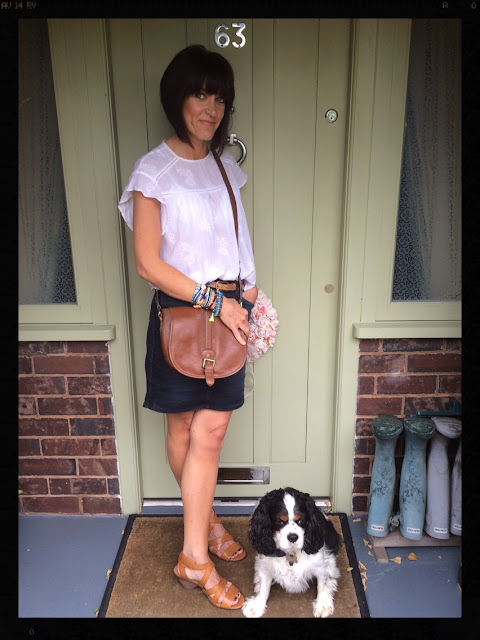 My Midlife Fashion, Clarks, Zara, CocoBay, Hipanema, Denim Skirt, Saddle Bag, tan sandals, cream floaty boho top