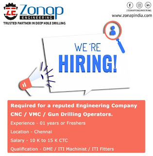 ITI Fitters / ITI Mechanist or Diploma Freshers & Experienced Holders Hiring for Machine Operators  Post in Zonap Engineering Solutions Pvt Lt